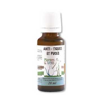 Anti-Tiques et Puces - plantes et- véto -20 ml