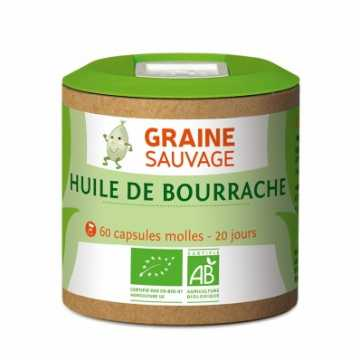Huile de bourrache Bio, 60 capsules molles - Graine Sauvage